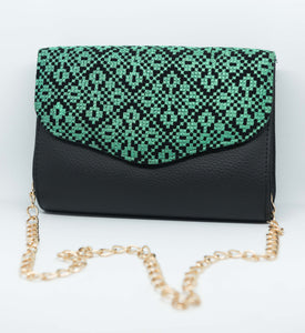 Black clutch with Turquoise embroidery - Falastini Brand