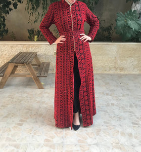 Full Red Embroidered Lined Dress Long Sleeve Half Open