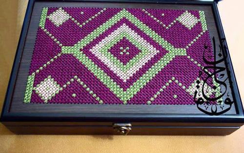 Wooden box with purple embroidery - Falastini Brand