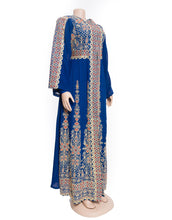 The princess dress - Two pieces embroidered blue and golden dress