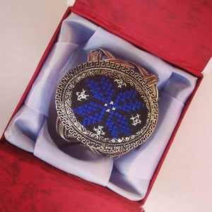Hand embroidered wide bracelet - dark blue - Falastini Brand