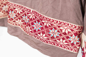 Brown blouse with Palestinian hand embroidery - Falastini Brand