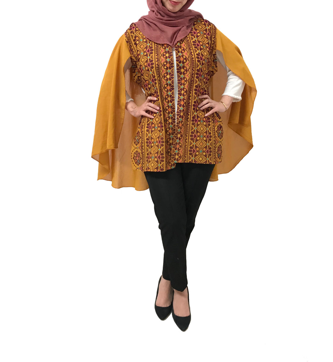 Free Size Mustard Georgette Cloak Sleeve Elegant Embroidered Open Cape Classy Ochre Poncho