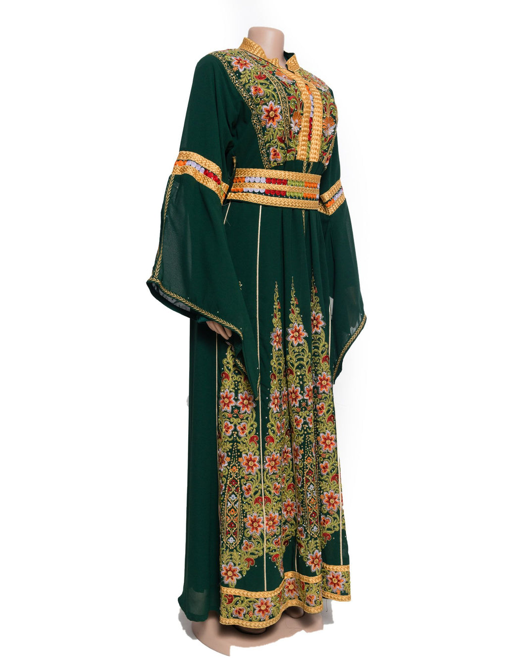 The queen dress - Green queen dress with stylish Palestinian embroidery