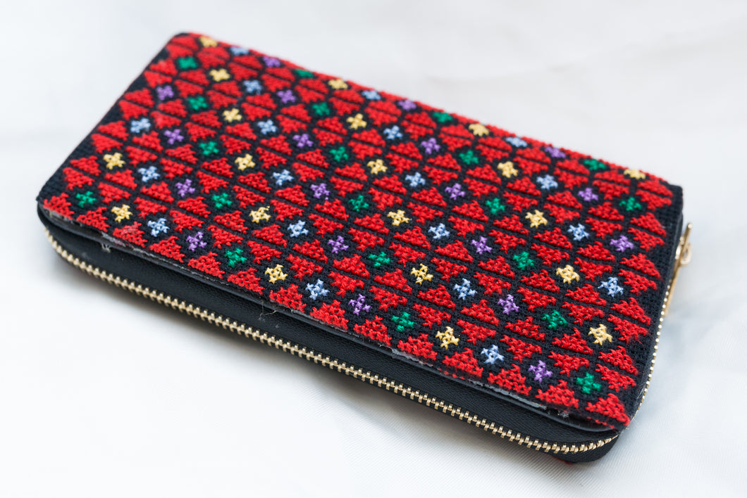 Wallet embroidery - red - Falastini Brand