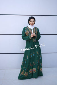 Amazing Open Green Embroidered Cloche Palestinian Abaya