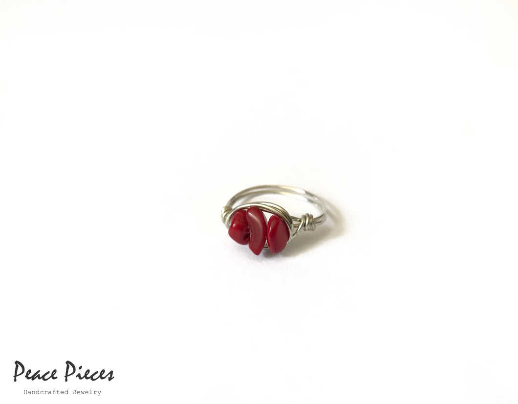 Silver Wire Ring with Red Gemstones - Falastini Brand