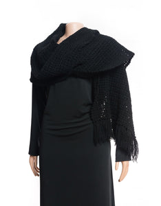 Handmade black rectangle shaped crochet shawl