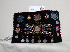 Beautiful Handmade Small Black Purse Inlaid With Beads And Crystals