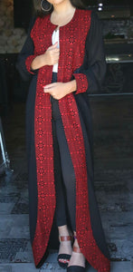 Classy black and red embroidered abaya