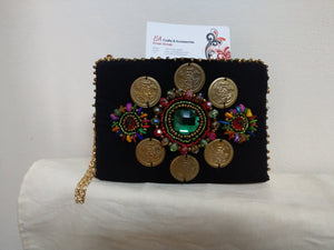 Handmade black textile Boho style small handbag with crystals and colored beads - Falastini Brand