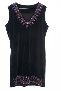 Black soft velvet dress with hand embroidery - Falastini Brand