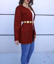 Full Embroidered Open Red Jacket Long Sleeves