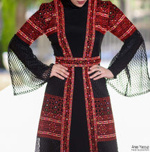 Dantel Black And Red Embroidered Palestinian Open Sheer Abaya