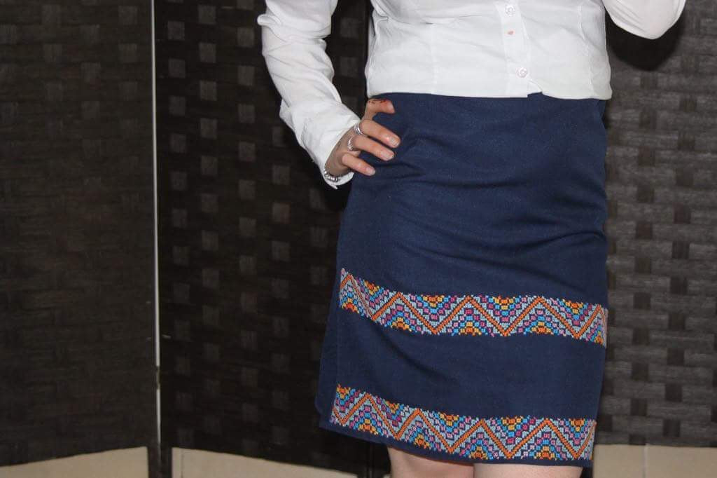 Short skirt suit fabric with embroidery - Falastini Brand