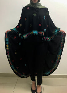 Stylish black floral embroidered long shawl