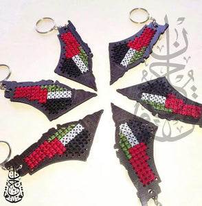 Wooden embroidered Palestine map keychain - Falastini Brand