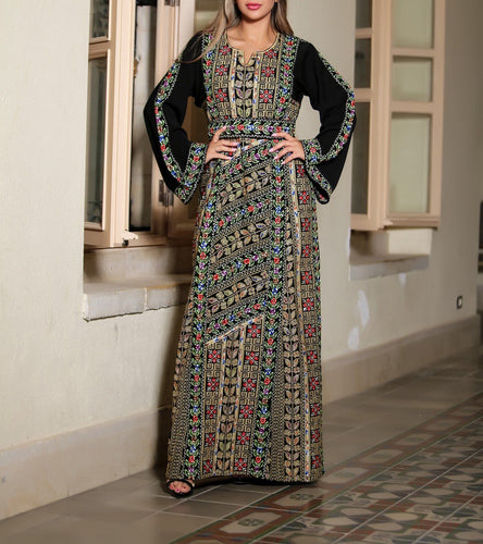 Akka Thobe Embroidered Palestinian Maxi Dress Long Sleeves Kaftan Palestinian Design And Embroidery