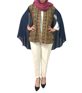Free Size Navy Georgette Cloak Sleeve Elegant Embroidered Open Cape Classy Poncho