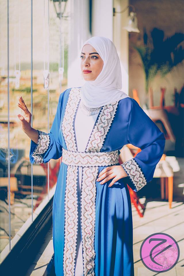 Blue abaya with hand embroidery - Falastini Brand