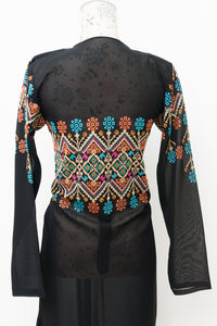 Light black embroidered long abaya/jacket with belt - Falastini Brand