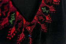 Black soft velvet dress with Palestinian hand embroidery - Falastini Brand