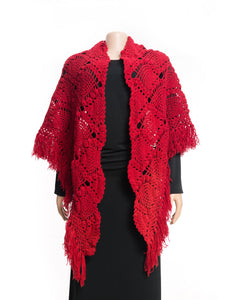 Handmade red triangle shaped crochet shawl