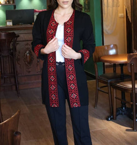 Amazing Coverup Razan Palestinian Jacket With Stylish Red Embroidery Long Sleeves