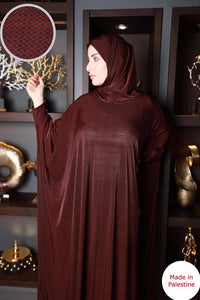 Free Size Dark Red Mix Prayer Dress Hijab Scarf Islamic Abaya Lycra Soft Prayer Clothes