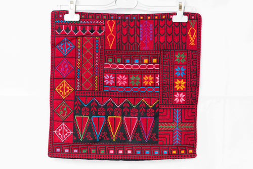 Hand embroidered cushion case with Palestinian traditional red embroidery - Falastini Brand