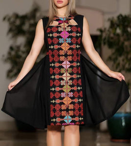 Black Sleeveless Palestinian Embroidered Short Dress