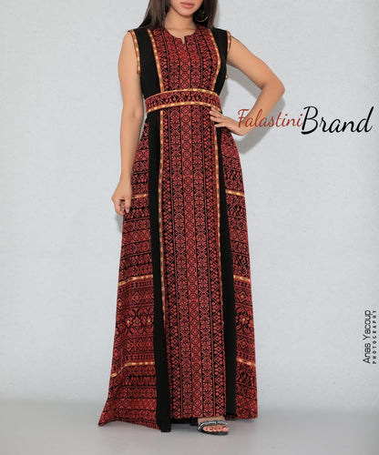 Gorgeous Black Long Dress Sleeveless Red Embroidered Front