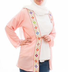 Pink light jacket with stylish hand embroidery - Falastini Brand