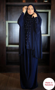 Free Size Two Pieces Inlaid With Pearls Prayer Dress Hijab Scarf Islamic Abaya Lycra Soft Prayer Clothes