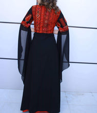 Stunning Black and Red Special Embroidered Palestinian Caftan Maxi Henna Dress Thobe Flowy Sleeves