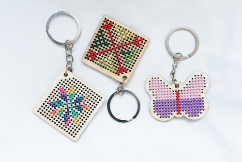 Wooden keychains with embroidery - Falastini Brand