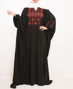 Black abaya with stylish hand embroidery - Falastini Brand