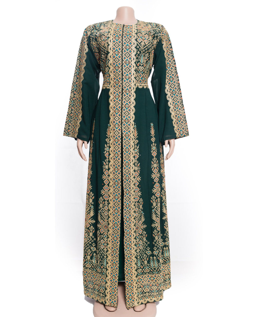 The princess dress - Two pieces embroidered green and golden dress