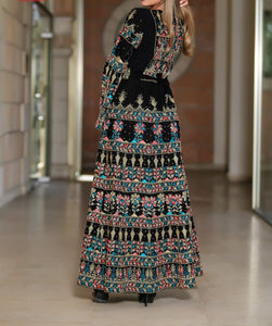 Version 2.3 Queen Thobe Embroidered Palestinian Maxi Dress Long Sleeves Kaftan Palestinian Design And Embroidery