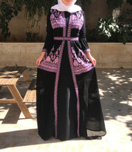 Stylish Black and Pink Two Pieces Palestinian Embroidered Abaya Long Sleeve
