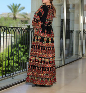 Version 2.5 Queen Thobe Embroidered Palestinian Maxi Dress Long Sleeves Kaftan Palestinian Design And Embroidery