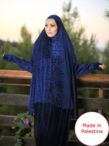 Free Size Frill Navy Smooth Velvet Prayer Dress Hijab Scarf Islamic Abaya Prayer Clothes