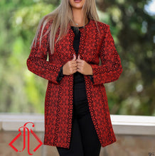 Elegant Palestinian Red Embroidered Jacket Long Sleeve