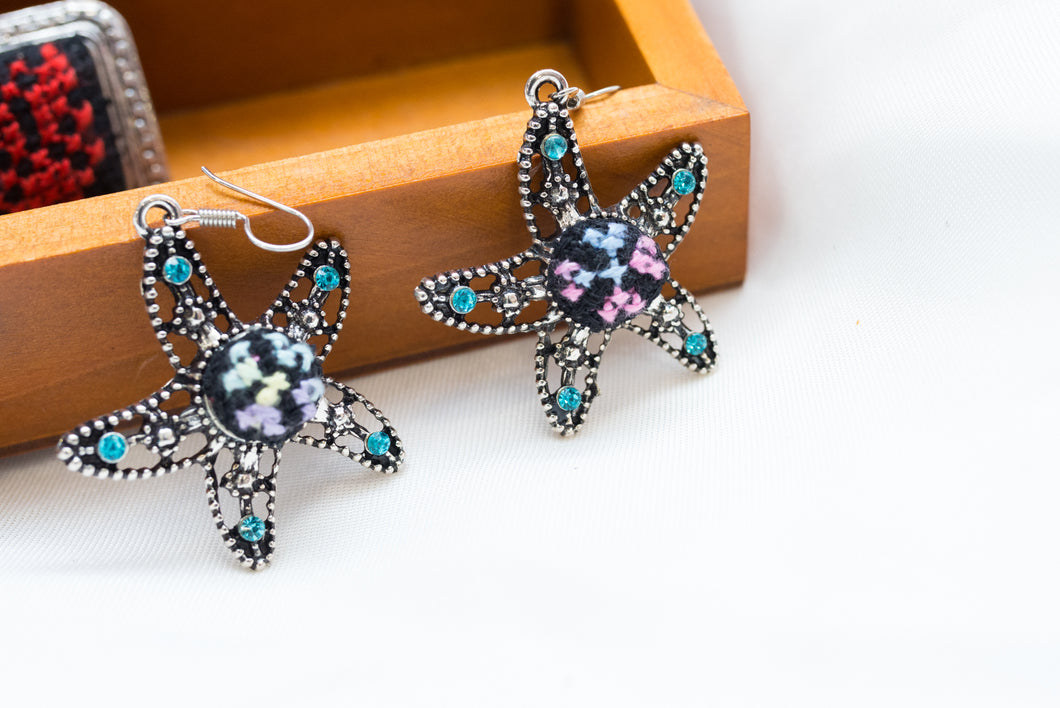 Star shaped embroidered earrings - Falastini Brand