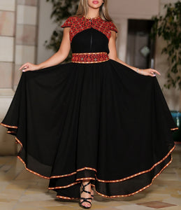 Stunning Black Cloche Long Dress Palestinian Embroidery Short Sleeve