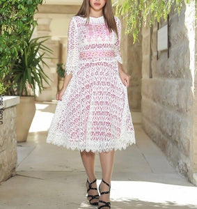 White Dantel Palestinian Embroidered Short Dress Two Third Sleeve