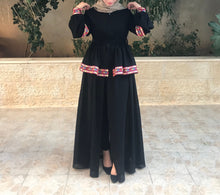 Elegant Black Open Hindi Details Embroidery Abaya Dress Long Sleeves