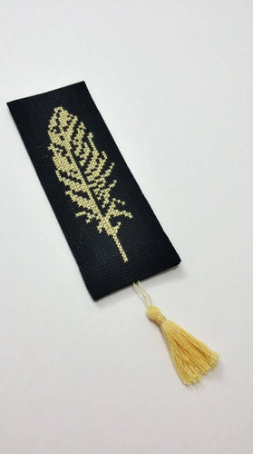 Black bookmark with golden embroidery - Falastini Brand