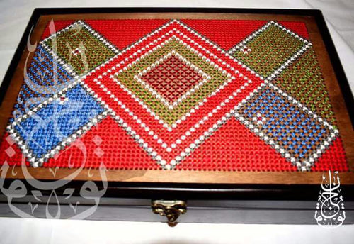 Wooden box with red embroidery - Falastini Brand