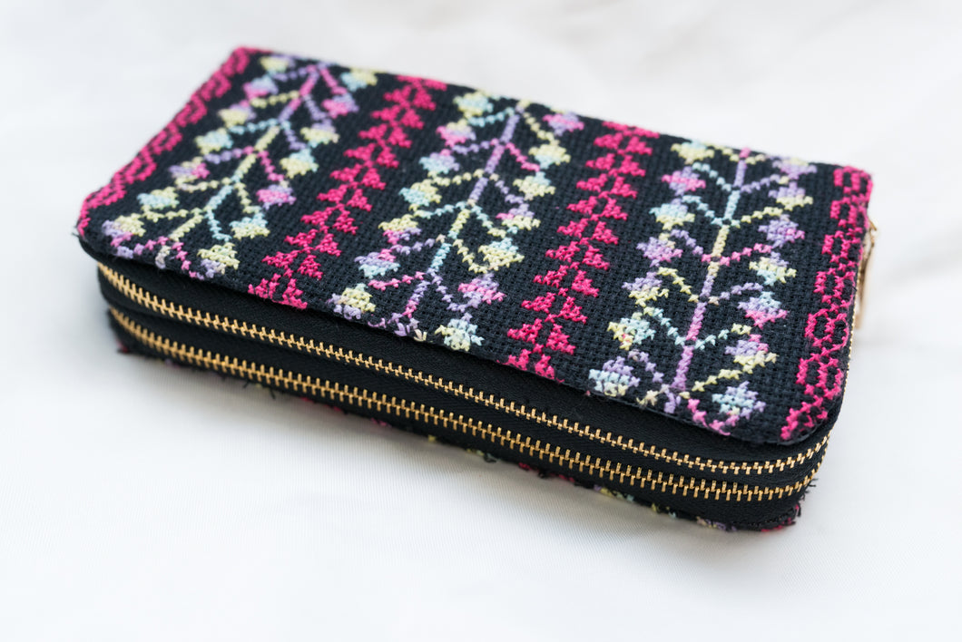 Wallet embroidery two zippers - Falastini Brand